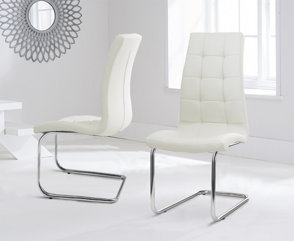 Most Popular Cream Faux Leather Dining Chairs Pertaining To Lorin Cream Faux Leather Hoop Leg Dining Chairs (View 11 of 20)