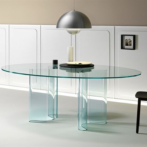 Most Popular Curved Glass Dining Tables Inside Contemporary Dining Table / Curved Glass / Oval / Curved – Sahara (View 16 of 20)