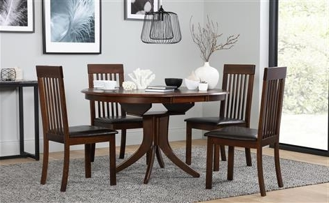 Most Popular Dark Wood Dining Tables And 6 Chairs Inside Hudson Round Dark Wood Extending Dining Table With 6 Regent Oatmeal (View 11 of 20)
