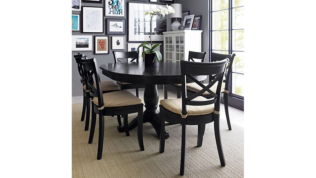 "Most Popular Dark Wooden Dining Tables Intended For Avalon 45"" Black Round Extension Dining Table + Reviews (View 18 of 20)"