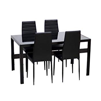 Most Popular Ebs® Black Glass Dining Table And 4 Chairs Dining Room Furniture Set With Regard To Black Glass Dining Tables And 4 Chairs (View 8 of 20)