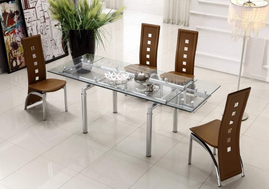 Most Popular Extendable Clear Glass Top Leather Modern Dining Table Sets Intended For Contemporary Dining Tables Sets (View 12 of 20)