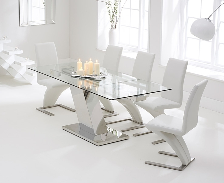 Most Popular Extendable Glass Dining Tables And 6 Chairs Inside Conrad Glass 140Cm Extending Dining Set With 6 Fusion Z White Chairs (View 15 of 20)