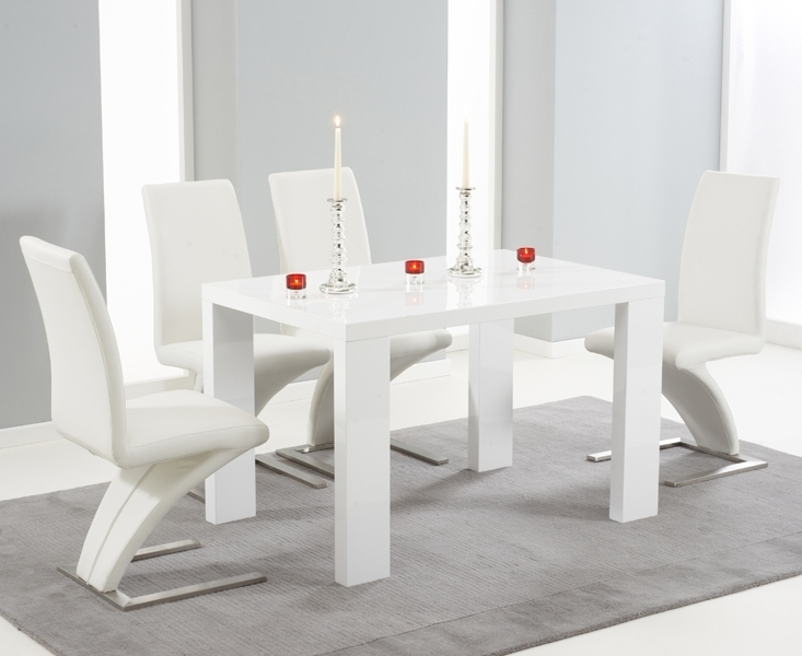 Most Popular Forde White High Gloss 150Cm Dining Set With 4 White Fusion Chairs Intended For White High Gloss Dining Tables And 4 Chairs (View 10 of 20)
