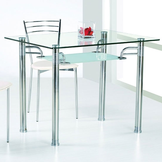 Most Popular Glass And Stainless Steel Dining Tables In Glass Top Dining Tables (View 13 of 20)