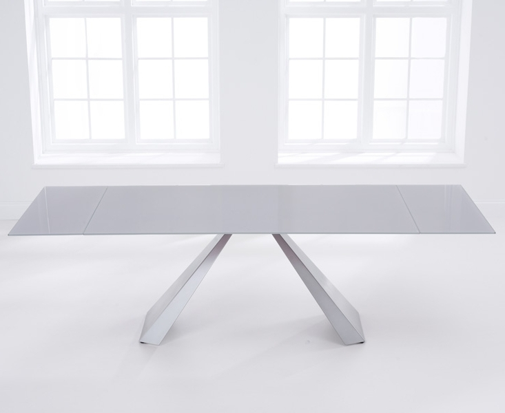 Most Popular Grey Glass Dining Tables With Regard To Buy Mark Harris La Linea Light Grey Glass Dining Table – 180Cm (View 11 of 20)