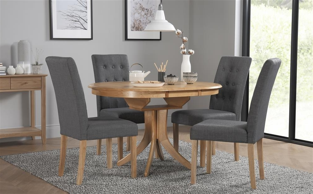 Most Popular Hudson Round Oak Extending Dining Table With 4 Regent Slate Chairs With Regard To Hudson Round Dining Tables (View 11 of 20)