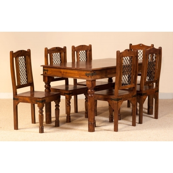 Most Popular Jali Dining Set With Six Chairs – Sublime Exports With Regard To Indian Dining Chairs (View 14 of 20)