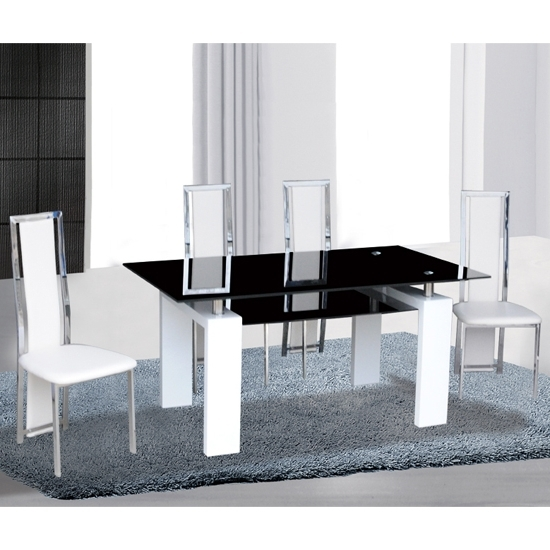 Most Popular Kontrast Black Glass Dining Table In Gloss White 6 Deluxe With Metro Dining Tables (View 8 of 20)