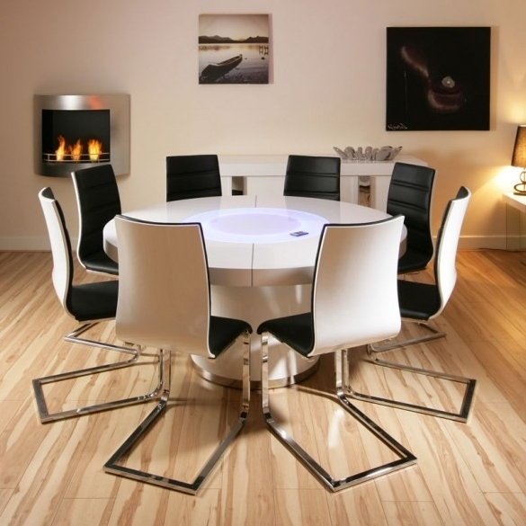 Most Popular Large Round White Gloss Dining Table & 8 White / Black Dining Chairs With Gloss Dining Sets (View 19 of 20)