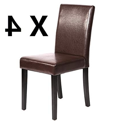 Most Popular Leather Dining Chairs In Amazon – Paylesshere Set Of 4 Urban Style Leather Dining Chairs (View 14 of 20)