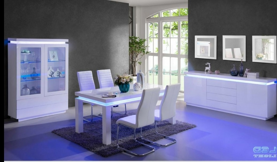 Most Popular Led Dining Tables Lights With Lenovo Dining Table In White High Gloss With Led Lights (View 12 of 20)