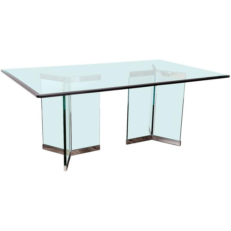 Most Popular Leon Dining Tables Throughout Leon Rosen, Pace Collection Rectangular Polished Chrome And Glass (View 14 of 20)