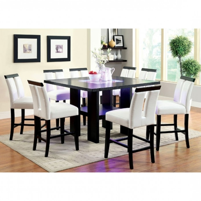 Most Popular Luminar Ii Espresso Wood Embedded Led Lights Dining Set – Shop For Intended For Led Dining Tables Lights (View 13 of 20)