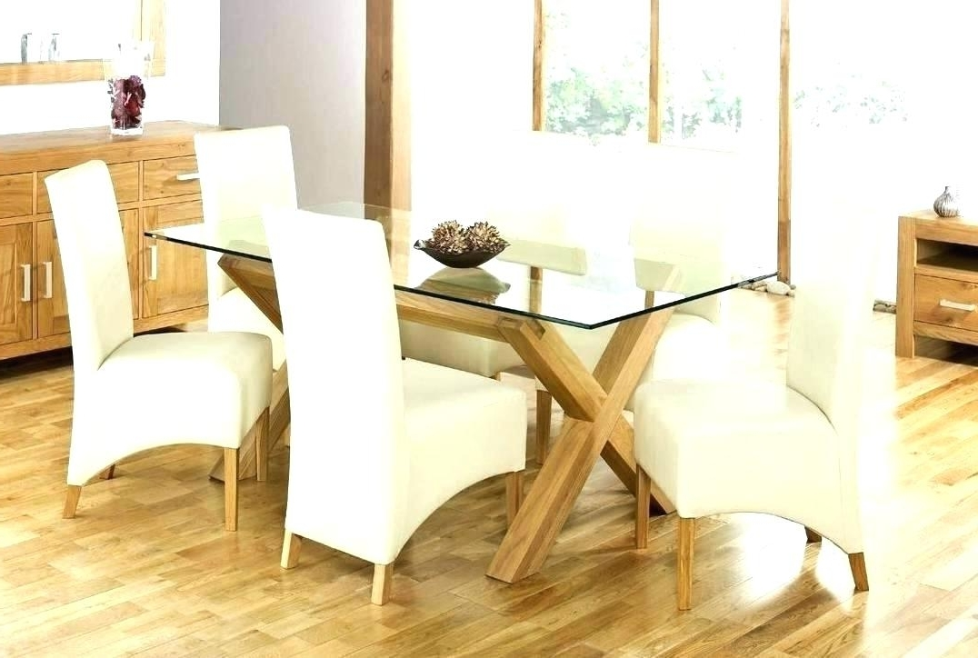Most Popular Oak Glass Dining Tables Within Glass Top Oak Dining Table Glass Top Oak Round Dining Table – Buxenz (View 9 of 20)