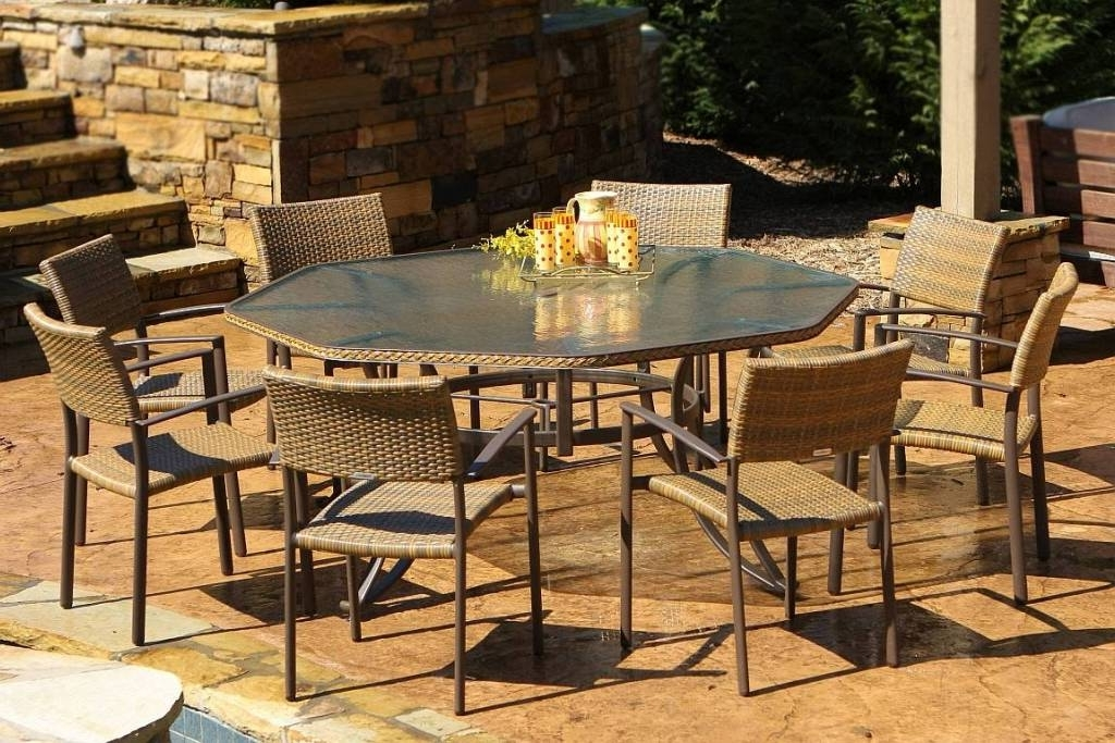 Most Popular Outdoor Tortuga Dining Tables Intended For Tortuga Maracay 9Pc Resin Wicker Dining Set – Mard (View 6 of 20)