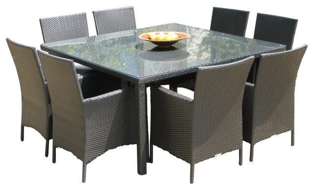 Most Popular Outdoor Wicker New Resin 9 Piece Square Dining Table And Chairs Set With Outdoor Dining Table And Chairs Sets (View 10 of 20)