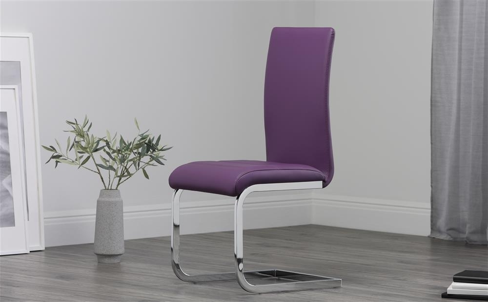 Most Popular Purple Faux Leather Dining Chairs Within 2 4 6 8 Perth Purple Leather Dining Room Chairs (View 4 of 20)