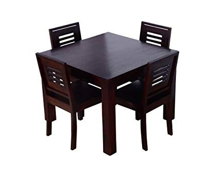 Most Popular Ringabell Square Four Seater Solid Wood Dining Table (Mahogany With Wooden Dining Sets (View 13 of 20)