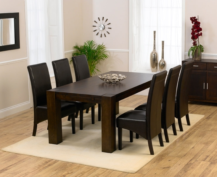 Most Popular Round Wood Dining Table For 8 Dark Set And Chairs 37Acbae7C429Fd4E Throughout Dark Wood Dining Tables 6 Chairs (View 14 of 20)