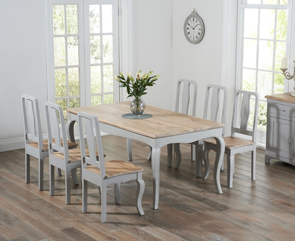 Most Popular Shabby Dining Tables And Chairs With Parisian 175Cm Grey Shabby Chic Dining Table With Chairs (View 3 of 20)