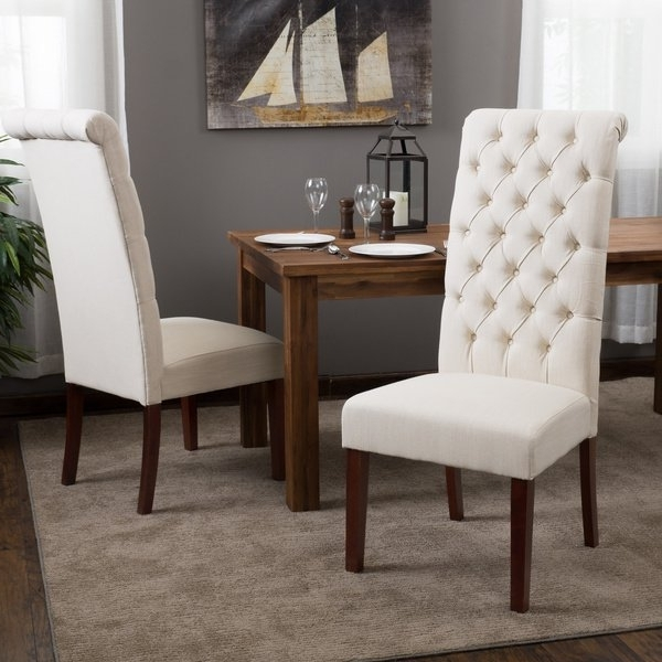Most Popular Shop Tall Natural Tufted Fabric Dining Chair (Set Of 2) Regarding Caira Black 5 Piece Round Dining Sets With Diamond Back Side Chairs (View 12 of 20)