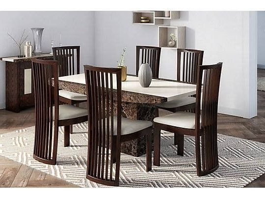 Most Popular Solid Marble Dining Tables For Brand New Boxed Naples Solid Marble Dining Table & 6 Chairs (View 7 of 20)