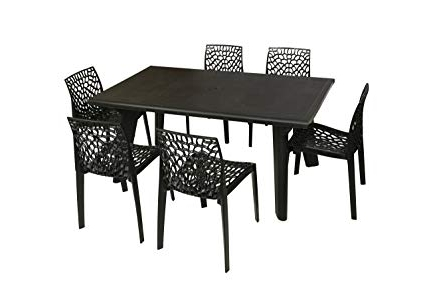 Most Popular Supreme Bison Six Seater Dining Table Set (Black): Amazon (View 10 of 20)