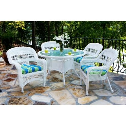 Most Popular Tortuga Outdoor Portside 5 Piece Wicker Dining Set – Rocking Furniture In Outdoor Tortuga Dining Tables (View 19 of 20)