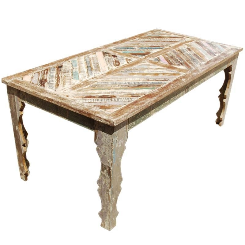 Most Popular Tucson Rainbow Rustic Reclaimed Wood Parquet Top Dining Table Intended For Parquet Dining Tables (View 15 of 20)
