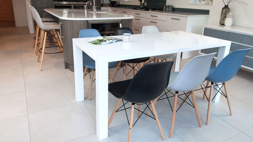 Most Popular White Dining Tables And 6 Chairs Within Eames Chairs And White Gloss 6 Seater Dining Set (View 8 of 20)
