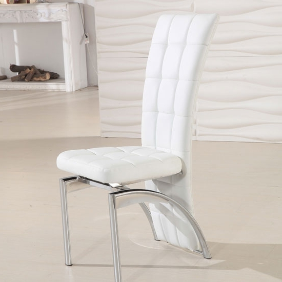 Most Popular White Leather Dining Chairs In Ravenna White Faux Leather Dining Room Chair  (View 9 of 20)