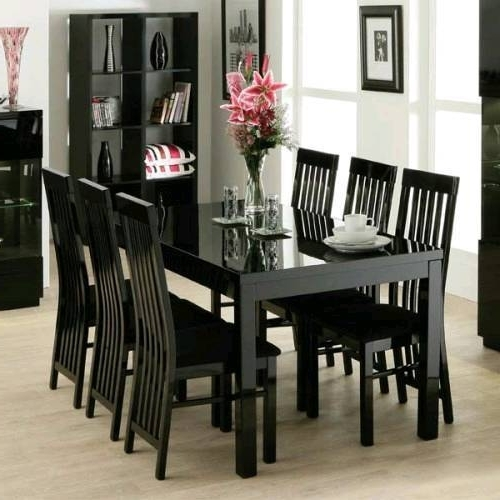 Most Popular Zone Furniture Black Gloss Dining Table And 6 Chairs (View 12 of 20)