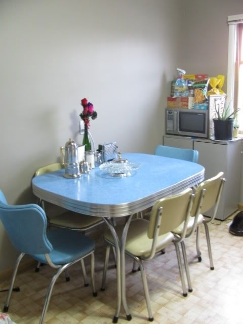 Most Recent 1950S Chrome Dining Set In Blue And Cream – We Grew Up With A Pink For Chrome Dining Sets (View 11 of 20)