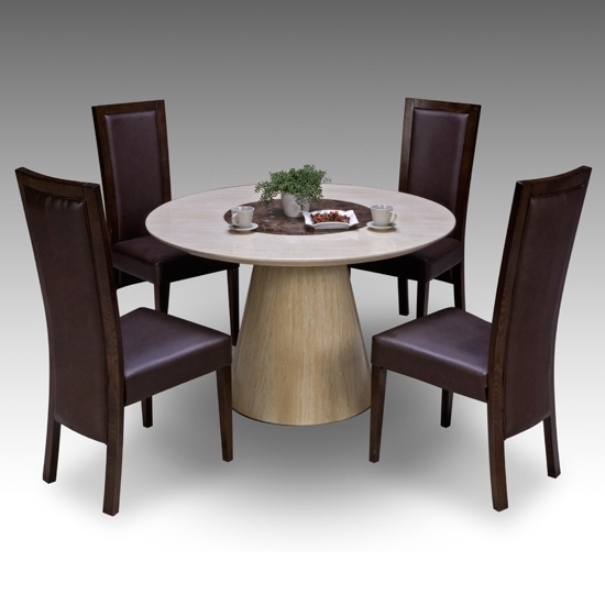 Most Recent 4 Seat Dining Tables Intended For Retro Round Marble Dining Table + 4 Retro Elm Chairs  (View 14 of 20)