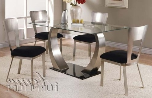 Most Recent Amazon – 5Pc Dining Table And Chairs With Metal Base In Chrome Inside Chrome Dining Tables (View 9 of 20)