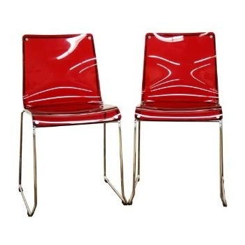 Most Recent Amazon: Baxton Studio Lino Transparent Red Acrylic Dining Chair Within Red Dining Chairs (View 9 of 20)