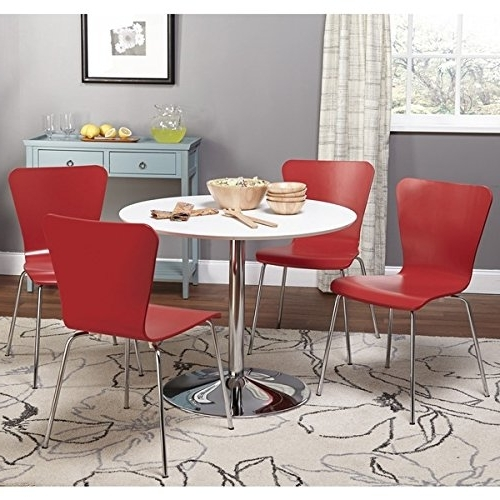 Most Recent Amazon: Simple Living White Chrome Metal Stand Single Pisa Intended For Pisa Dining Tables (View 10 of 20)