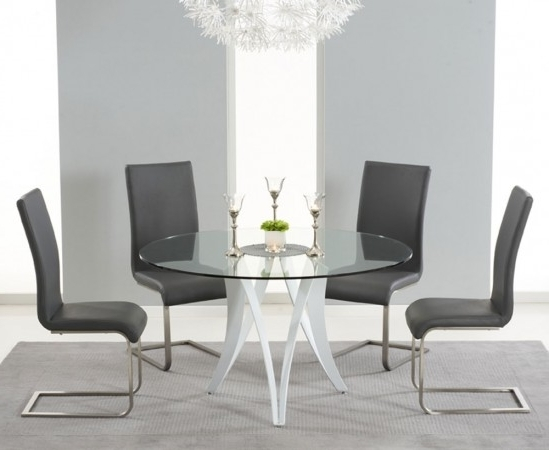 Most Recent Bellevue 130Cm Round Glass Dining Table With 4 Malibu Grey Leather With Regard To Glass Dining Tables And Leather Chairs (View 9 of 20)