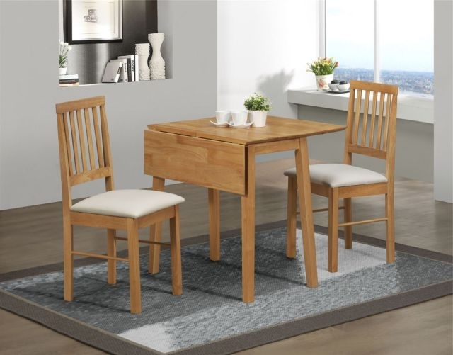 Most Recent Birlea Rubberwood Small Drop Leaf Dining Table And 2 Chairs Set In Pertaining To Small Dining Sets (View 9 of 20)