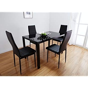 Most Recent Black Glass Dining Table Set With 4 Faux Leather Chairs Brand New Within Dining Tables Black Glass (View 11 of 20)