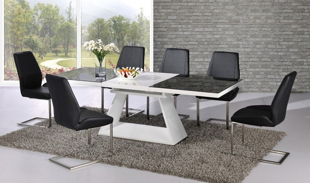 Most Recent Black Gloss Dining Room Furniture With Regard To Black Glass White High Gloss Extending Dining Table With 8, Black (View 16 of 20)
