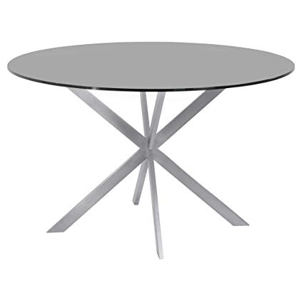 Most Recent Brushed Steel Dining Tables Inside Amazon – Armen Living Lcmyditogrey Mystere Dining Table With (View 17 of 20)
