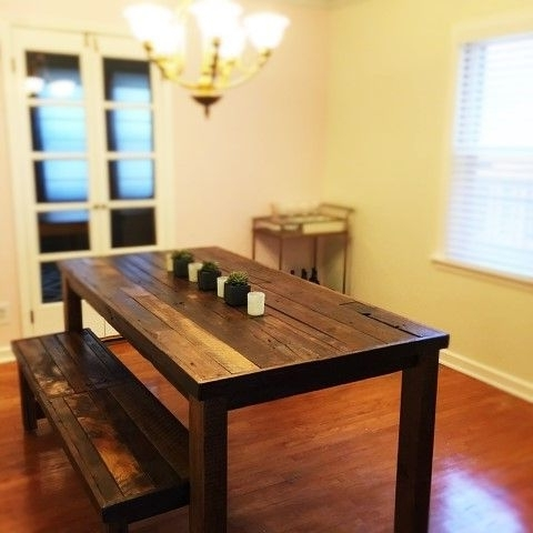 Most Recent Buy A Custom Barnwood, Dining Set, Dining Table And 2 Benches Pertaining To Dining Tables And 2 Benches (View 13 of 20)