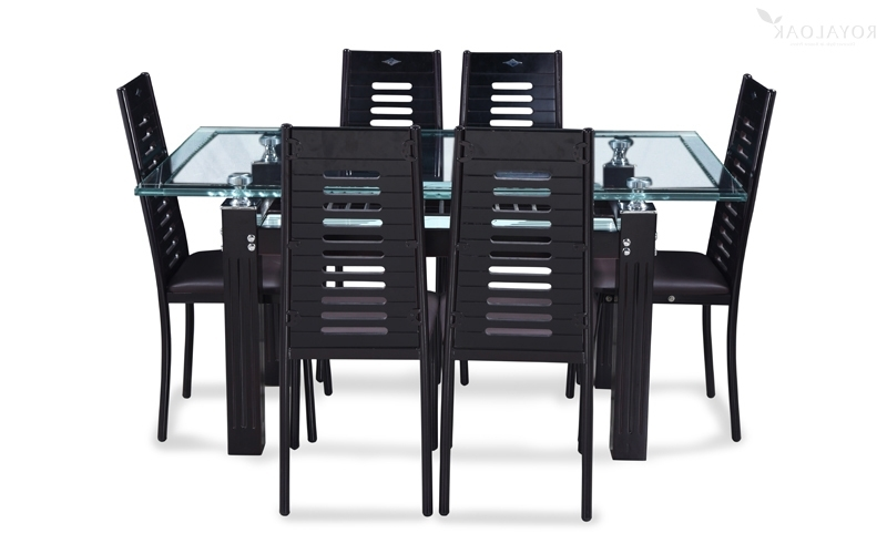 Most Recent Buy Royaloak County 6 Seater Dining Set With Tempered Glass Top And With Regard To 6 Seat Dining Tables And Chairs (View 17 of 20)