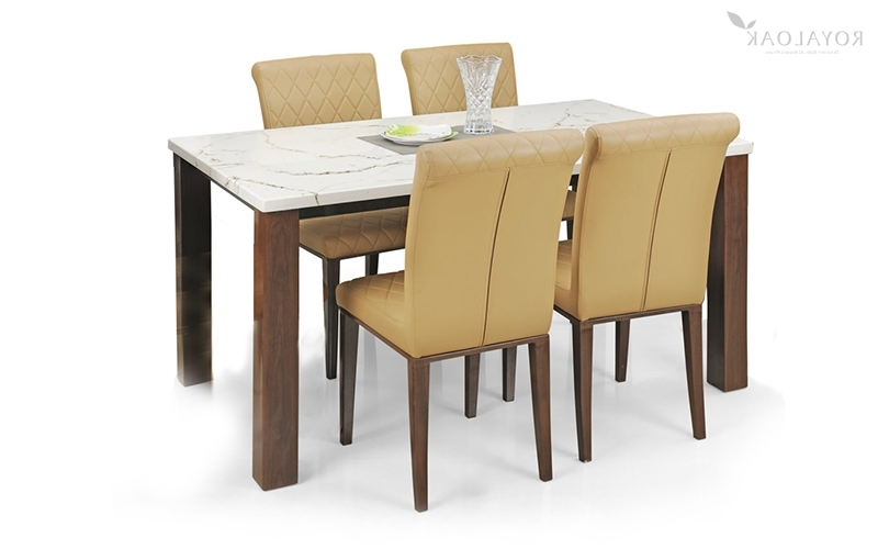 Most Recent Buy Royaloak Pearl 4 Seater Dining Set With Cushioned Chairs And Within 4 Seat Dining Tables (View 16 of 20)