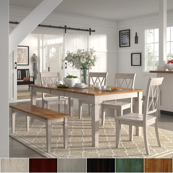 Most Recent Caden 6 Piece Rectangle Dining Sets With Regard To Elena Antique White Extendable Rectangular Dining Set With Double X (View 9 of 20)