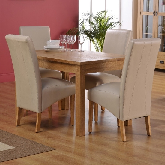 Most Recent Corrick Dining Table And 4 Ivory Faux Leather Dining Chairs Within Ivory Leather Dining Chairs (View 15 of 20)