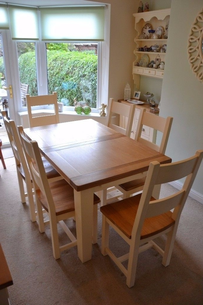 Most Recent Cream And Oak Dining Tables Within Cotswold Cheltenham Cream Oak Dining Table & Six Chairs (View 14 of 20)