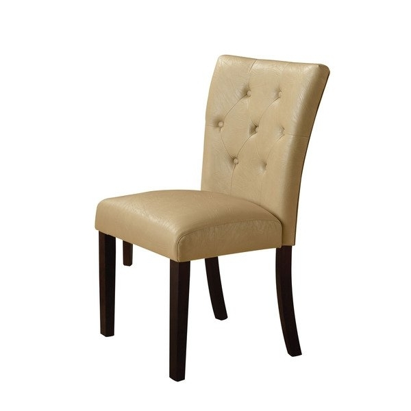 Most Recent Cream Faux Leather Dining Chairs With Regard To Shop Acme Furniture Bethany Cream/walnut Faux Leather Dining Chairs (View 13 of 20)